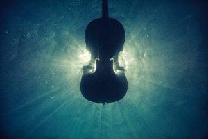 Violine unter Wasser.